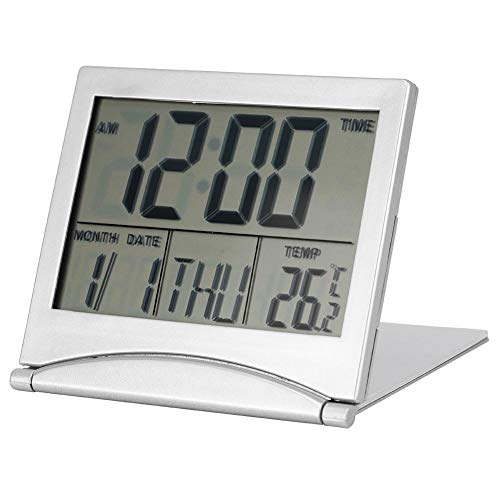 Bewinner Tragbarer Faltwecker mit Lederbezug Travel Digital LED Wecker Temperaturkalender Snooze 8 Groups Alarm Music