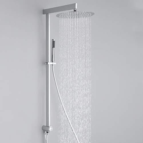 Homelody eckig Duschsystem ohne Armatur mit Umstellung für Duschset Wandmontage mit Kopfbrause und Handbrause Duscharmatur Brausekopf für Badezimmer