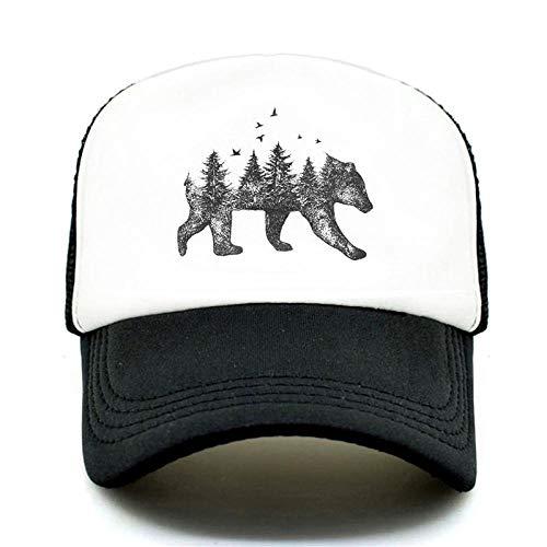 AdronQ Forest Bear Trucker Cap Hunter Jagd Cap Hat Hip Hop Männer Frauen Hut Baseball Cap Coole Sommer Mesh Caps -Black Cap
