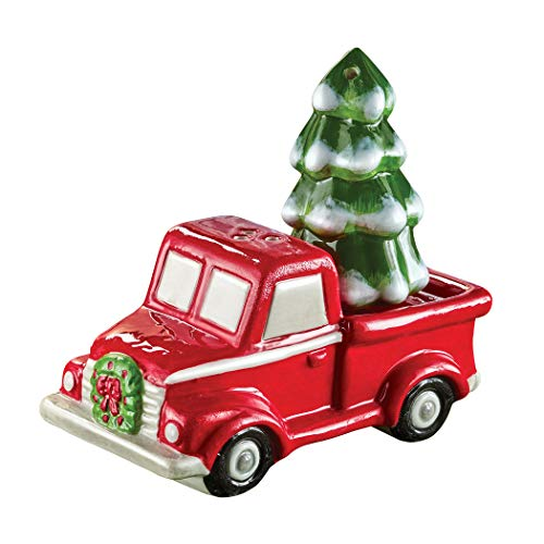 Hand-Painted Red Pickup Truck Salt and Pepper Shaker Set