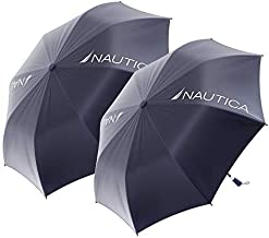 2-Pack Nautica 2-Person Umbrella - Large, Portable, Lightweight & Folding - Best Windproof Umbrellas for Rain, Sun & Wind Resistant Protection, Collapsible Two Person Coverage in Navy, Red & Blue