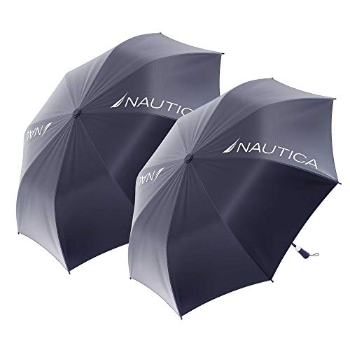 2-Pack Nautica 2-Person Umbrella - Large, Portable, Lightweight & Folding - Best Windproof Umbrellas for Rain, Sun & Wind Resistant Protection, Collapsible Two Person Coverage in Navy