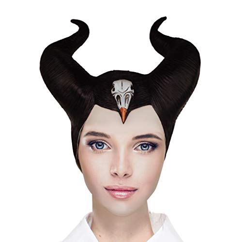 Mistress of Evil Mask Black Latex Mask With Horns For Women Halloween Costume Accessory