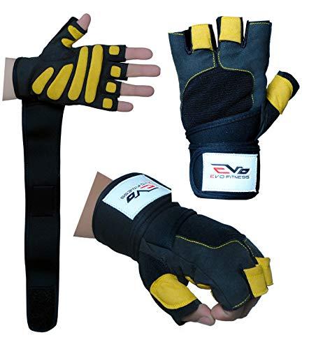EVO Fitness Lederen Gewichtheffen Handschoenen Gym Neopreen Pols Wraps Ondersteuning Bandjes Rolstoel Fietsen