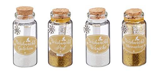 Wunschglas Flaschenpost Weihnachten mit Schneeflocken-Anhänger und glitzerndem Staub in gold und weiß Glas-Flasche mit Wunschzettel als Adventskalender Geschenk oder Mitgebsel 4 Sprüche sortiert (4)