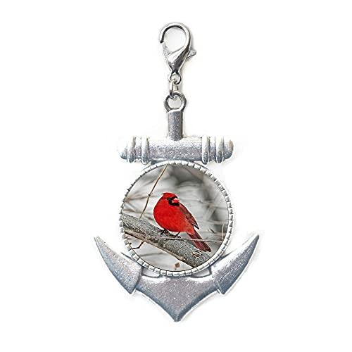 Cardinal Jewelry, cierre de langosta de pájaro, arte usable, cardenal pájaro broche de langosta, tirador de cremallera de ancla cardenal, regalo cardenal #220