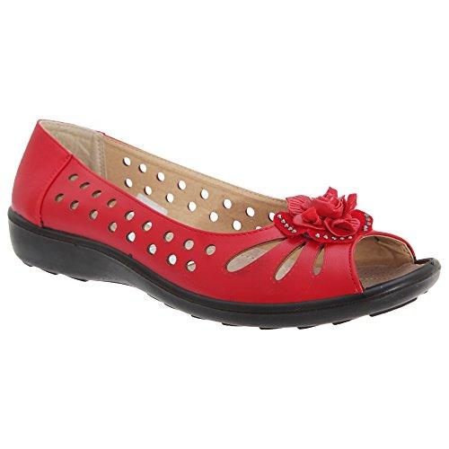 Boulevard - Zapatos Casuales con Puntera Abierta Modelo Punched para Mujer (42) (Rojo)