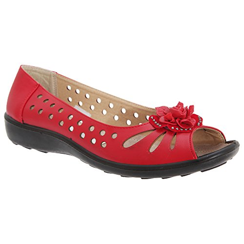 Boulevard Damen Ballerinas/Schuhe mit Zehenöffnung, Lochmuster und Blumen-Applikation (4 UK/37 EU) (Rot)