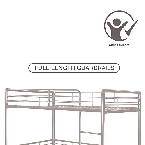 DHP Full Metal Loft Bed with Ladder, Space-Saving Design, Silver