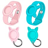 [2 Pack] Air Tag Wristbands + Silicone Cases Holder for Airtags 2021 Tracker, Airtag Watch Band for Kids Elders and Protective Waterproof Cover with Keychain for pet, RoyalBlue Pink Anti-Lost Sleeves