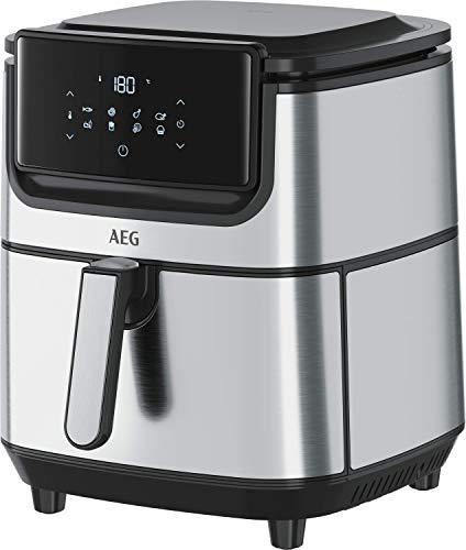 AEG AF6-1-6ST Freidora de aire sin aceite, capacidad 5.4 L, acero inoxidable, LED display táctil, 8 Programas, temperatura máxima 180º, temporizador 60 min, Apto lavavajillas, Inox