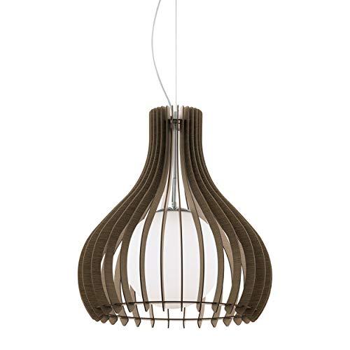 EGLO Lámpara colgante Tindori, 1 lámpara de techo vintage, de acero, madera y cristal en níquel mate, marrón, blanco, mesa de comedor, lámpara colgante con casquillo E27, 50 cm de diámetro