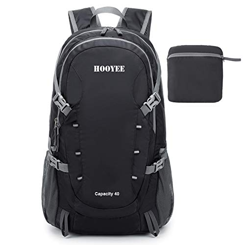 HOOYEE 40L Lightweight Foldable Water-Resistant Ripstop Nylon Hiking Backpack, Outdoor Sport Daypack Travel Bag for Climbing Camping Touring (Black)