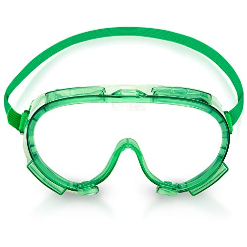 Neiko 53829A Lab Safety Goggles, Impact and Chemical Splash Resistant | Indirect Ventilation, Polycarbonate Lens, ANSI Z87.1,Green