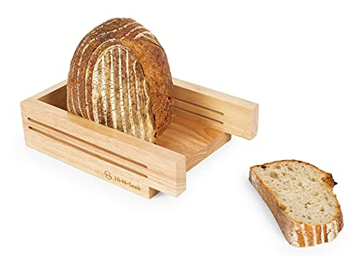 Bread Slicers For Homemade Bread |Premium Rubber Wood | 5-in-1 Multi-Purpose: Knife Holder, Chopping Board, Serving Tray, Bagel Slicer | Bonus Non-Slip Mat| Best for Bread Loaf, Cake, Picnic