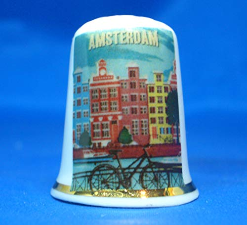 Birchcroft Porselein China Collectable Thimble - Travel Poster Amsterdam - Gratis Doos