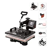 Heat Press 30 x 38cm Multifunctional 5 in 1 Heat Press Machine for T Shirt Mug Hat Cap Plate Transfer Printer