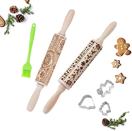 Wooden Rolling Pins Christmas Reindeer Snowflake Christmas Tree Pattern, Embossing,Patterned Rolling Pin,Christmas Embossed,Biscuit Making Kitchen Tools
