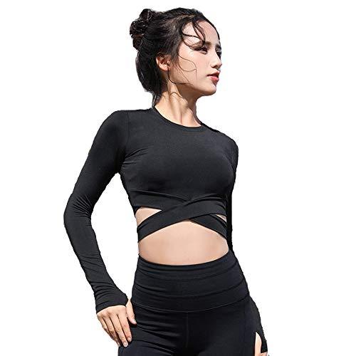 Afocuz Damen Yoga Gym Crop Top Kompression Workout Athletic Langarm Shirt Sportwear Gr. M, Schwarz