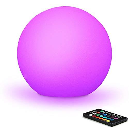 30cm Bola Luminosa Luz Ambient Exterior, IP65 Impermeable, 8 Brillo Regulables, 16 Colores RGB Ajustables, 4 Modos de Color-cambiante, Recargable Luz de Noche para Hogar Iluminación y Decoración