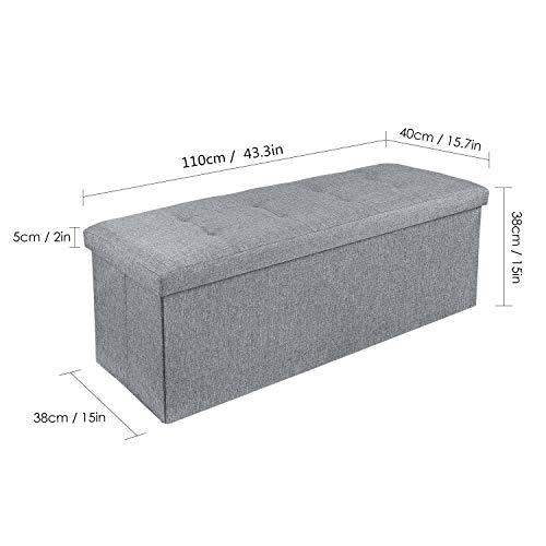 Homfa Sitzbank mit Stauraum 110x38x38cm Sitzhocker Bank Truhe mit Deckel Fußablage - 2