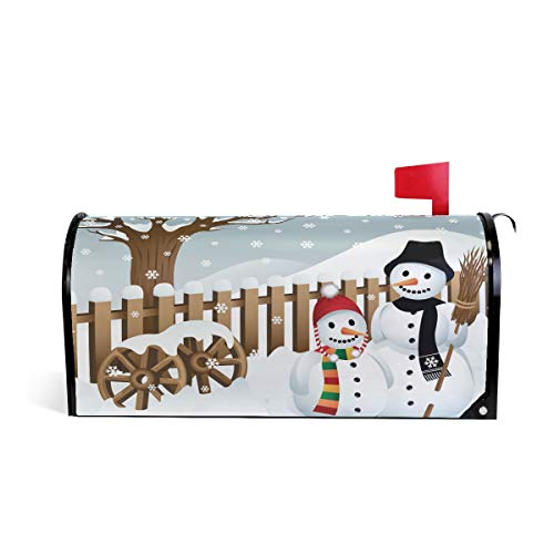 Noël Bonhomme de Neige Balai Bienvenue magnétique Boîte aux Lettres Boîte aux Lettres Coque stratifiées, Winter Snow Arbre Taille Standard Makover Mailwrap Garden Home Decor 52.6x45.8cm Multicolore