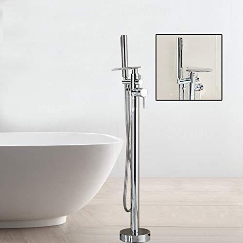 PLUIEX Grifo de bañera Grifo de Ducha de baño en Cascada, Grifo Mezclador de bañera montado en el Suelo de Bronce Negro con Ducha de Mano, Lavabo de bañera Independiente