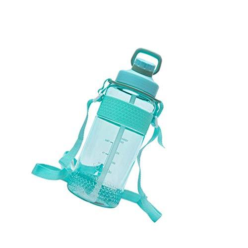 litulituhallo Botella de agua deportiva de 1000 ml, plástico BPA con botella de pajita, diseño a prueba de fugas para adolescentes, adultos