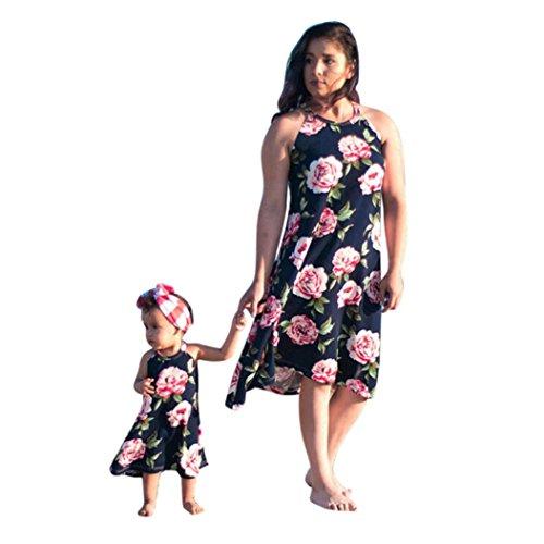 AMUSTER.DAN Familie Kleid Mutter und Tochter Matching Blumenkleider Frauen Mädchen Lange Rose Kleider (XL, Navy)