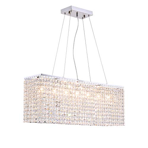 NOXARTE Modern Rectangular Chandelier Crystal Light LED Indoor Ceiling Hanging Lighting for Dining Room L31.5'xW7.8'xH11.8'