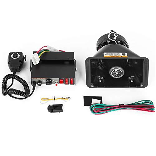 Happybuy 12V 100W Amplifier Police Siren Kit 8 Sound Car Warning Alarm Fire Speaker Loud Handheld...