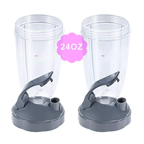 24oz Tall Cups with Flip Top To Go Lid, Compatible with Nutribullet 600W 900W Blender Juicer (Pack of 2)