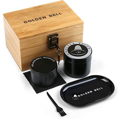 LIHAO Grinder Pollen Crusher mit Vorratsglas im Holzbox als Geschenk Grinder 4-teilig Spice Kräuter Gewürze Herb Krautmühle Set für Mann Vater Freund