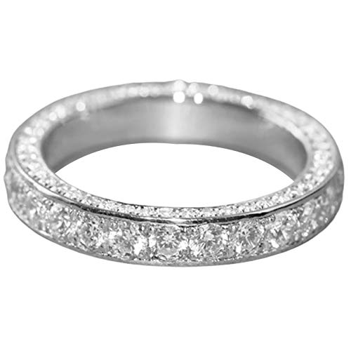 SANWOOD Ring,Silver Zircon Ring Ladies Fashion Gift Jewelry US 7 Femal