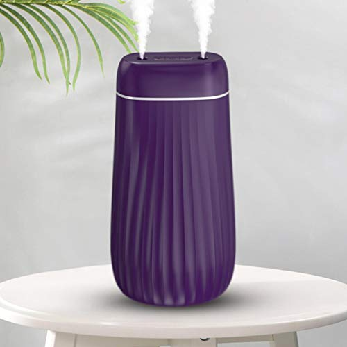 Double spout Air Humidifier Ultrasonic Essential Oil Aroma Diffuser USB Three colors Desktop Mini Humidifier Cool Mist Humidifier Prevents Dryness Protect Skin Sleep aid Winter (Purple)