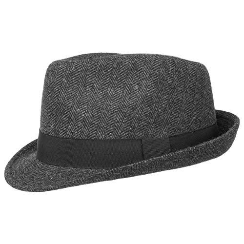 Lipodo Trilby Hut Herringbone Damen/Herren - Stoffhut Classic mit Ripsband und Fischgrat-Muster - Trilbyhut Sommer/Winter - Fedora schwarz-grau M (57-58 cm)