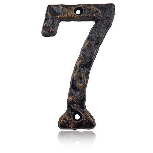 Hausnummern aus massivem Gusseisen, 15,2 cm, einzigartiges Hammer-Aussehen mit individueller unregelmäßiger Handarbeit, Antik-Messing-Finish, Number 7