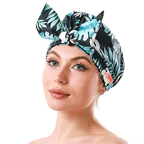 iSPECIAL Shower Cap for Women Long Hair Reusable, Adjustable Shower Caps & Luxury Waterproof Bathing Hair Cap for Women, Elegant Double Layer Shower Caps
