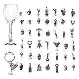 42 piezas Adornos de Copa de Vino, CNYMANY Temática del Vino Copa Bebida Marcadores Etiqu...