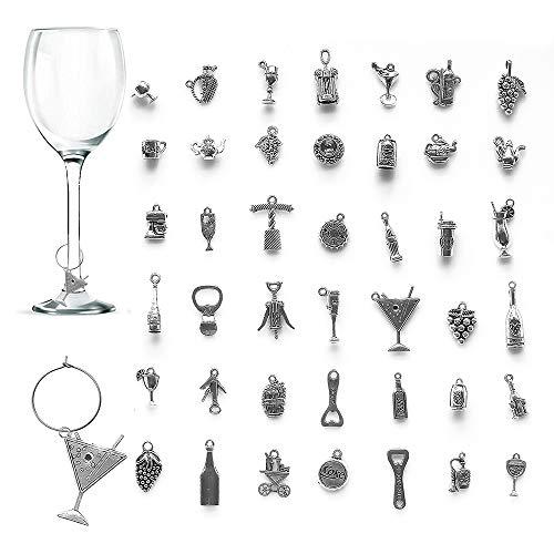 42 pezzi Segnabicchieri Charms per Bicchiere di Vino, CNYMANY Vino a Tema Calice Marcatori di Bevande Tag con Fibbia per Cocktail Champagne Festa Di Degustazione Favori Forniture Decorative Regali
