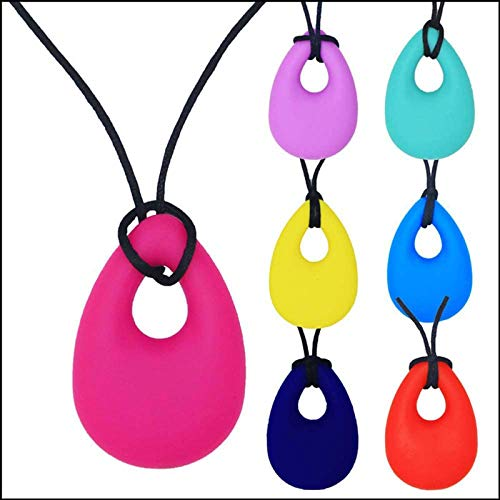 7 Pieces Silicone Chewy Necklace Chewelry, Adult Clothing Biting Sensory Children Baby Teethers Chew Toys Children,Pink