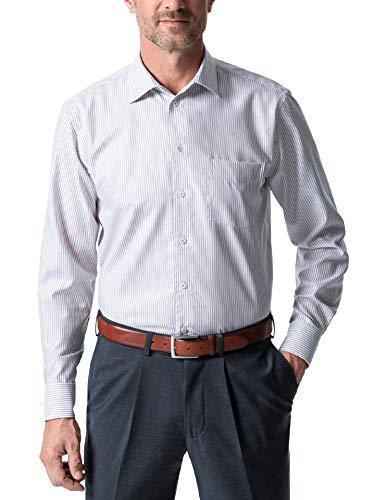 Walbusch Herren Hemd Bügelfrei Exquisit gestreift Streifen Braun 47/48 - Langarm extra kurz
