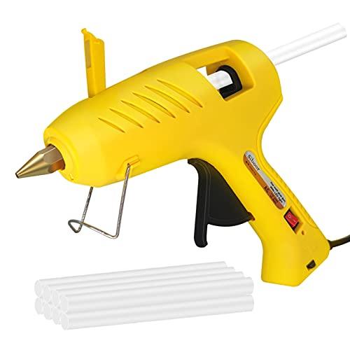 Staright Pistola de pegamento termofusible profesional de doble potencia, 60 W, 100 W, boquilla de latón con lámpara LED, 8 barras de pegamento para manualidades, proyectos de manualidades, decoración