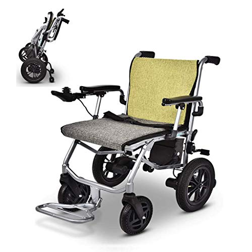 ZHHL Lightweight Wheelchair, Electric Wheelchair, Fold Lightest Most Compact Power Chair Drive with Electric Power Or Manual Wheelchair Up To 12 Miles Range for Disabled Elderly