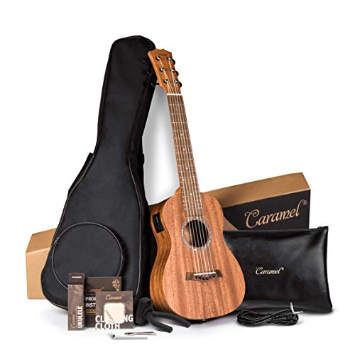 Caramel 30 inch All Solid Mahogany 6 String Ukulele Guitalele Wooden LCD color display Electric Guitalele Kit Small Hawaiian Beginner Guitar Starter Pack Bundle Gig bag, Strap,Strings, Wall mount Set