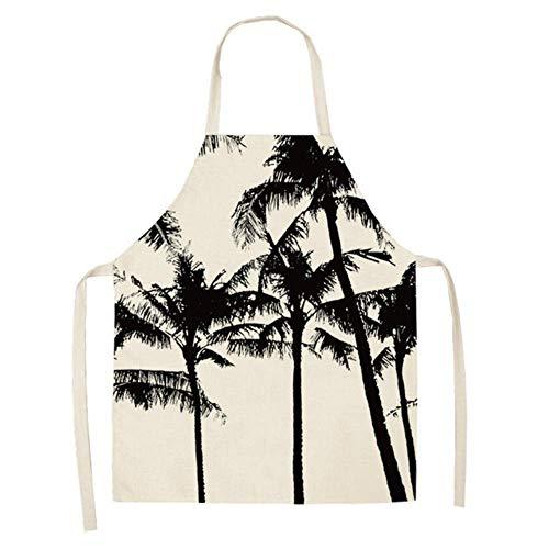 Goey 1 stuk kokos boom plant schort katoen linnen slab vrouwen barbecue koken bakken keuken schoonmaak schort 53 * 65 cm