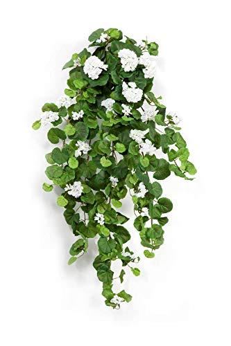 artplants.de Decorativos geranios XXL MIEKE para Colgar, en Vara de Ajuste, Blanco, 100cm, Ø 40cm - Geranio sintético - Planta Artificial