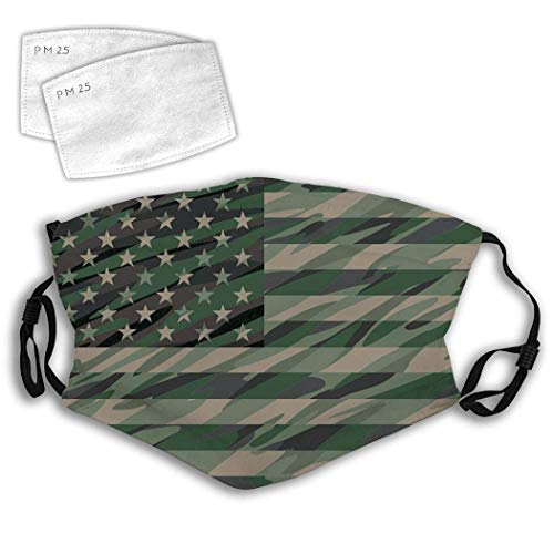 vipsung Anti Dust Mouth Striped Stars Fashion Adjustable Mouth with Filter-Jungle Green Camo USA Flag-One Size