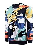 SCREENSHOT-F11076 Mens Urban Hip Hop Fleece Pullover Top - I-Screen Cone Cartoon Animatin Camo Crew Neck Streetwear Sweatshirt-White-Medium