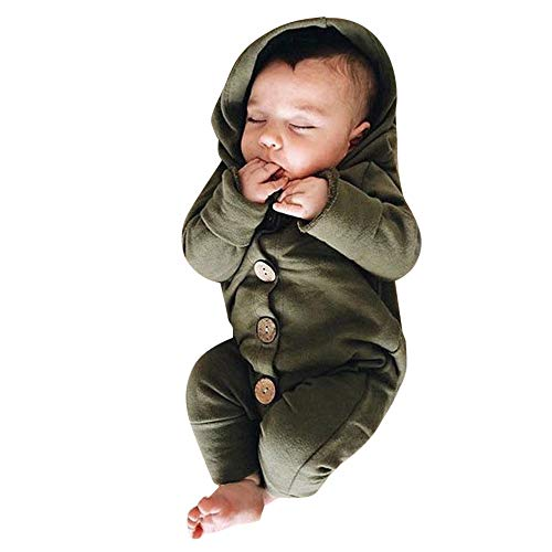 SUCES SUCES Baby Outfits, Mädchen Jungen Einfarbig Kapuze Lange Ärmel Strampler Langarm Kapuzen Overall Winter Dicker Warmer Hooded Knopf Mantel (Grün,70)